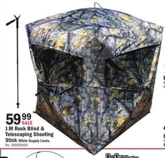Mills Fleet Farm Black Friday: J.M. Rusk Blind & Telescoping Shooting Stick for $59.99