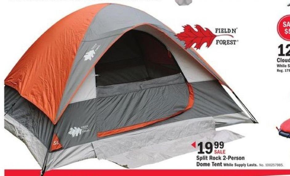 Mills Fleet Farm Black Friday: Field N' Forest Split Rock 2-Person Dome Tent for $19.99