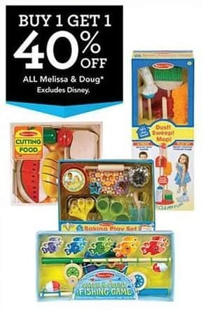 Toys R Us Black Friday: Entire Stock Melissa & Doug Children's Toys - B1G1 40% Off