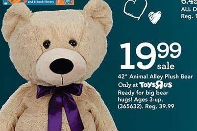 "Toys R Us Black Friday: 42"" Animal Alley Plush Bear for $19.99"