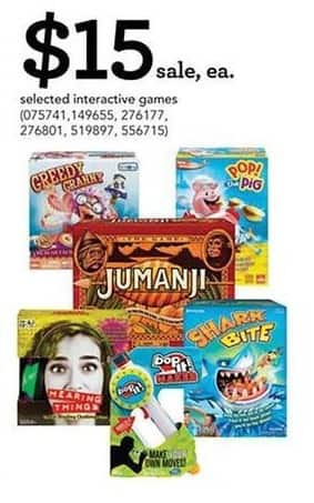 Toys R Us Black Friday: Selected Interactive Games: Jumanji, Shark Bite and More for $15.00