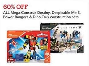 Toys R Us Black Friday: Entire Stock Construction Sets: Mega Construx Destiny, Despicable Me 3, Power Rangers and More - 60% Off