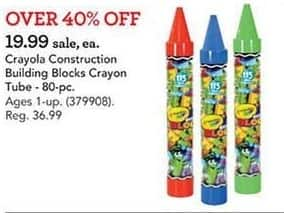 Toys R Us Black Friday: Crayola 80-Piece Construction Building Blocks Crayon Tube for $19.99