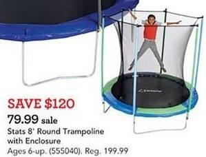 Toys R Us Black Friday: Stats 8' Round Trampoline w/Enclosure for $79.99