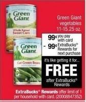 CVS Black Friday: Green Giant Vegetables + $0.99 ECB w/Card for $0.99