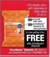 CVS Black Friday: CVS Health Ultra-Soft Cleansing or Baby Wipes + $0.99 ECB w/Card for $0.99