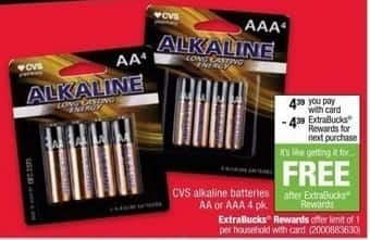 CVS Black Friday: CVS AA or AAA 4 pack Alkaline Batteries + $4.39 ECB w/Card for $4.39