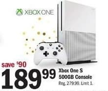 Meijer Black Friday: 500GB Xbox One S Console for $189.99