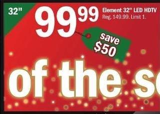 """Meijer Black Friday: 32"""" Element LED HDTV for $99.99"""