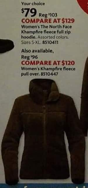 AAFES Cyber Monday: The North Face Women's Khampfire Fleece Full Zip or Pull Over Hoodie for $79.00