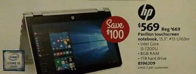 "AAFES Cyber Monday: HP Pavilion 13.3"" 13-U163nr Touchscreen Notebook: Intel Core i5-7200U, 8GB RAM, 1TB HDD for $569.00"