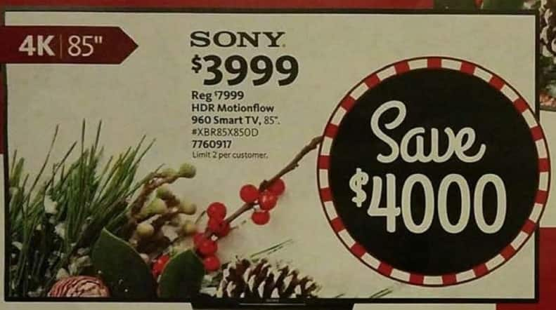 "AAFES Cyber Monday: 85"" Sony XBR85X850D HDR Motionflow 960 4K Smart TV for $3,999.00"
