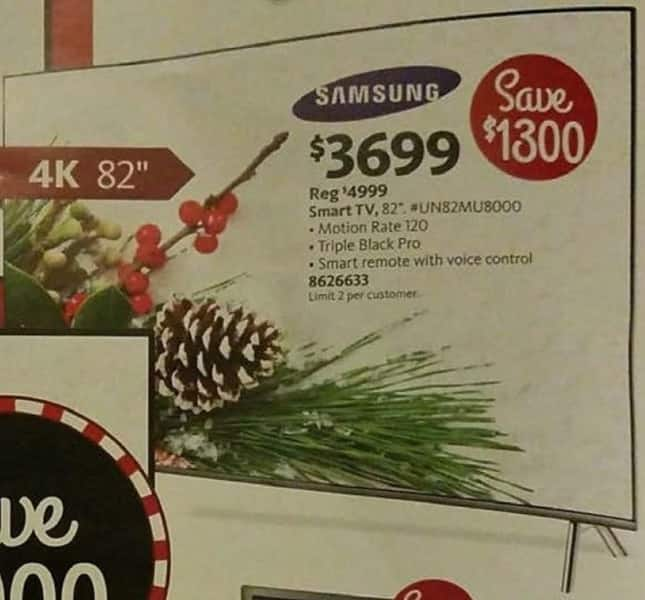 """AAFES Cyber Monday: 82"""" Samsung UN82MU8000 4K w/Motion Rate 120 and Smart Remote for $3,699.00"""