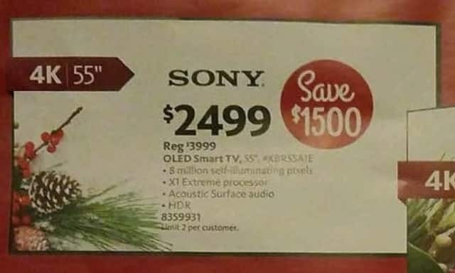 "AAFES Cyber Monday: 55"" Sony OLED HDR 4K Smart TV w/Acoustic Surface Audio for $2,499.00"