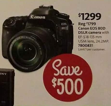 AAFES Cyber Monday: Canon EOS 80D 24.2MP DSLR Camera for $1,299.00
