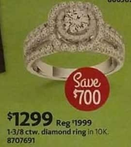 AAFES Cyber Monday: 1-3/8 ctw. 10K Diamond Ring for $1,299.00