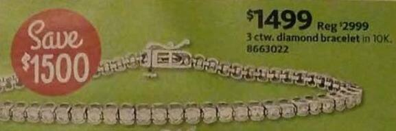 AAFES Cyber Monday: 3 ctw. 10K Diamond Bracelet for $1,499.00