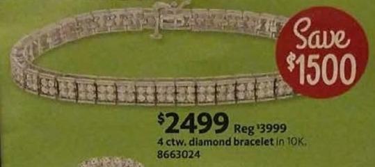 AAFES Cyber Monday: 4 ctw. 10K Diamond Bracelet for $2,499.00