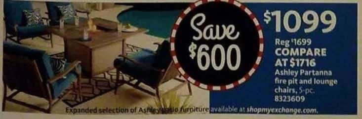 AAFES Cyber Monday: 5-Piece Ashley Partanna Fire Pit and Lounge Chairs for $1,099.00