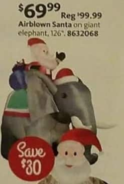 AAFES Cyber Monday: Airblown Santa on Giant Elephant for $69.99