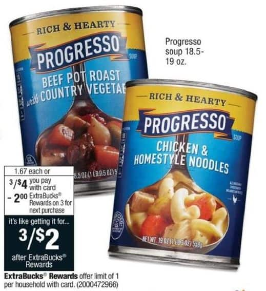 CVS Black Friday: (3) Progresso Soup 18.5-19 oz. + $2 ECB for $4.00