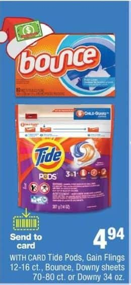 CVS Black Friday: Select Laundry Supplies: Tide Pods, Bounce or Downy for $4.94