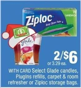 CVS Black Friday: (2) Select Household Items: Ziploc Bags, Glade Candles, PlugIns Refills and More for $6.00