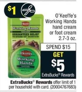 CVS Black Friday: Any Purchase O'Keeffe's Working Hands Hand or Foot Cream of $15 or More - Get $5 ECB