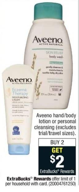 CVS Black Friday: Buy (2) Aveeno Hand/Body Lotion or Personal Cleansing Products - Get $2 ECB
