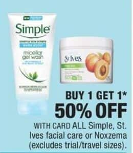 CVS Black Friday: Entire Stock Simple, St. Ives or Noxzema Facial Care - B1G1 50% Off