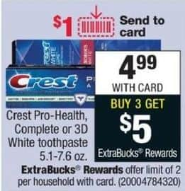 CVS Black Friday: Buy (3) Select Crest Pro-Health or 3D White Toothpaste - Get $5 ECB