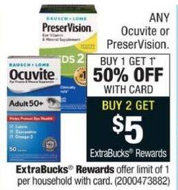 CVS Black Friday: Buy (2) Entire Stock Ocuvite or PreserVision - Get $5 ECB