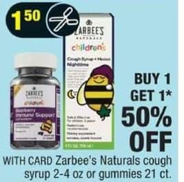 CVS Black Friday: Zarbee's Naturals Cough Syrup or Gummies - B1G1 50% Off