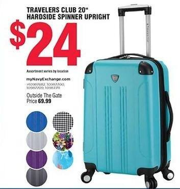 """Navy Exchange Black Friday: Travelers Club 20"""" Hardside Spinner Upright Rolling Luggage for $24.00"""