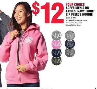Navy Exchange Black Friday: Soffe Men's or Women's Navy Front Zip Fleece Hoodie for $12.00