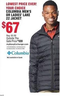 Navy Exchange Black Friday: Columbia Men's or Women's Lake 22 Jacket for $67.00