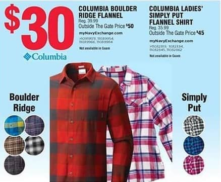 Navy Exchange Black Friday: Columbia Boulder Ridge Flannel for $30.00