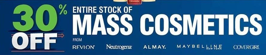 Navy Exchange Black Friday: Entire Stock Mass Cosmetics: Revlon, Neutrogena, Almay and More - 30% Off