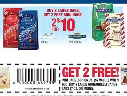 Navy Exchange Black Friday: (2) Select Lindt or Ghirardelli Chocolates + (2) Free Mini Bags w/Coupon for $10.00