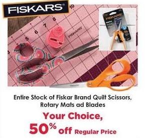Craft Warehouse Black Friday: Entire Stock Fiskar Brand Quilt Scissors Rotary Mats and Blades - 50% Off