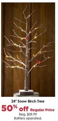 Craft Warehouse Black Friday: Battery Operated Snow Birch Tree, 24 oz. - 50% Off