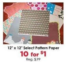 """Craft Warehouse Black Friday: (10) Select Pattern Paper, 12x12"""" for $1.00"""