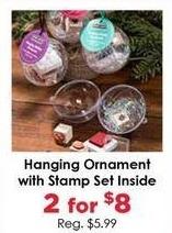 Craft Warehouse Black Friday: (2) Hanging Ornament w/Stamp Set Inside for $8.00