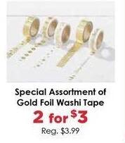 Craft Warehouse Black Friday: (2) Special Assortment of Gold Foil Washi Tape for $3.00