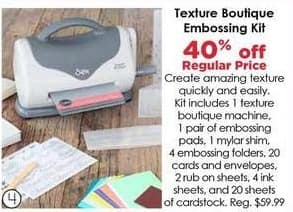 Craft Warehouse Black Friday: Texture Boutique Embossing Kit - 40% Off