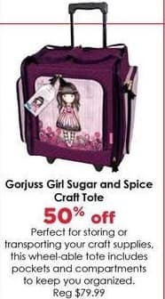 Craft Warehouse Black Friday: Gorjuss Girl Sugar and Spice Craft Tote - 50% Off