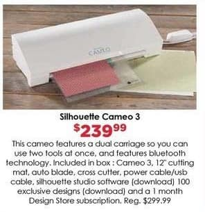 Craft Warehouse Black Friday: Silhouette Cameo 3 Paper Cutter for $239.99