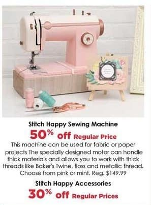Craft Warehouse Black Friday: Stitch Happy Sewing Machine - 50% Off