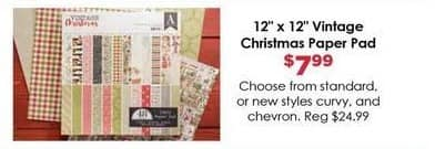 "Craft Warehouse Black Friday: Vintage Christmas Paper Pad, 12x12"" for $7.99"