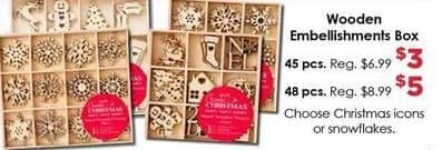 Craft Warehouse Black Friday: 45-Piece Wooden Embellishments Box for $3.00